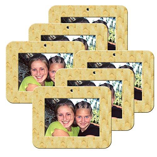 Mini Magnetic Iridescent Foil Photo Christmas Ornament, Gold-Silver Blended Design, Horizontal - Iridescent