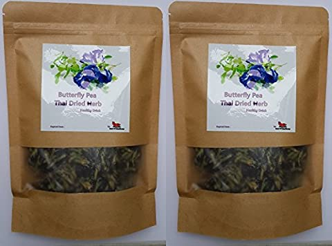 Pack of 2 Butterfly Pea Flower Healthy Thai Dried Herb Tea Drink Blood Health ORGANIC Natural Blue Eye Food Pure 50g Coloring Cooking by - Dried Flower Shop