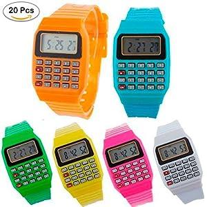 Lote de 20 relojes calculadora para niños – relojes baratos para regalar, para comuniones, cumpleaños, colegios o bodas