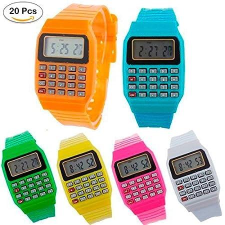 Lote de 20 Relojes Calculadora, Reloj Calculadora Niños- Relojes Baratos Niños Infantiles Calculadora Comuniones, Cumpleaños, Bodas Niños, Colegios