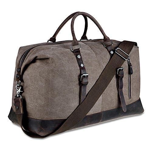 Canvas Overnight Bag Weekender Tote Genuine Leather Travel Duffel (Coffee)