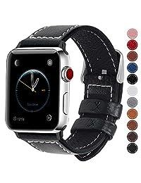 Fullmosa LC-Jan Cuero Correa, 7 Colores Correa Compatible Apple Watch/iWatch Series 3, Series 2, Series 1, 38mm, 42mm, Negro 42mm