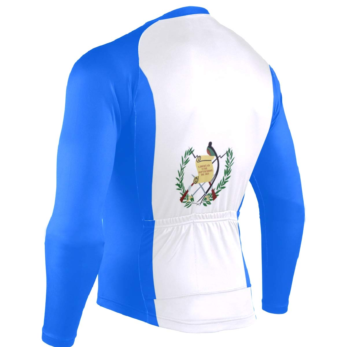 CHINEIN Mens Cycling Jersey Long Sleeve with 3 Rear Pockets Suit Guatemala Flag