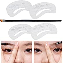 Beauty, Make Up and Eyebrows Shapers Groomers Set Kit With Eyes Brows Shaping Grooming Templates Stencils Drawing Cards and Angled Brush