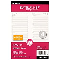 Day Runner Weekly Compact Desk Calendar Planner Refill 2016, 5.5 X 8.5 Inches Page Size 4 (061-285y-17)