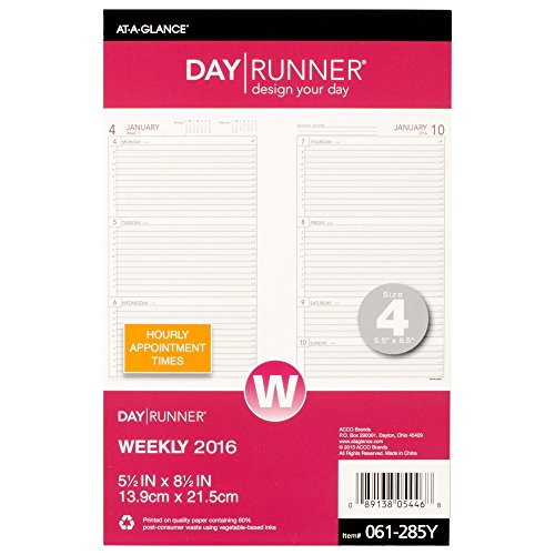 Day Runner Weekly Compact Desk Calendar Planner Refill 2016, 5.5 x 8.5 Inches Page Size 4 (061-285Y-17) Weekly Desk Calendar Refill