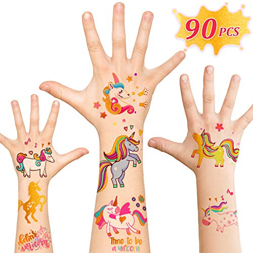 Unicorn Party Supplies,90pcs Glitter Unicorn Temporary Tattoos for Kids and Adult, Unicorn Party Favors Gifts School Games Toys Decorations Birthday Stuff for Girls Boys -