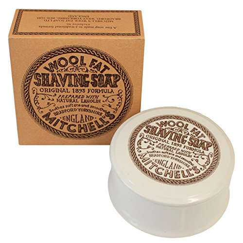 Mitchell's Wool Fat Lanolin Shaving Soap and Ceramic Dish