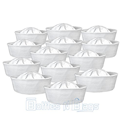 12 Pack of Solid White Sailor Nautical Costume Hats by Bottles N Bags (Sailor Halloween Costumes)