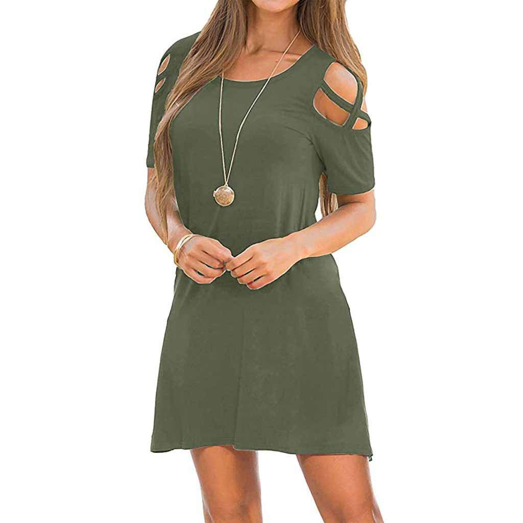 FarJing Womens Summer Strappy Swing Loose Off-The-Shoulder Cross Short Sleeve Dress with Pockets(S,Army Green