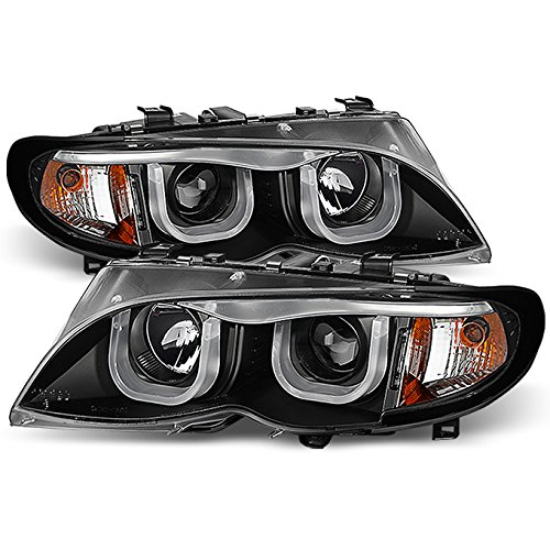 For 2002-2005 BMW E46 3 Series 4-Doors Sedan Wagon [3D STYLE] DRL Dual-U LED Tube Black Projector Headlights LH+RH Pair