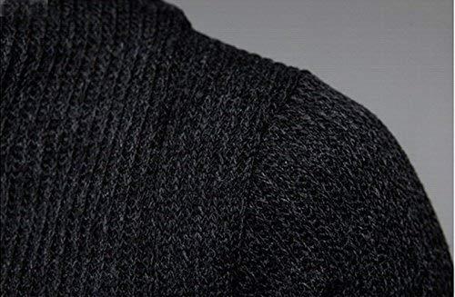 Longs Unie Tricot Cardigans Vetement Homme Fashion Hx Pull Longues Tricoté Confortables Tailles Ouvert Manches Couleur V Solide Veste Cardigan Manteau Noir Front Neck w408C