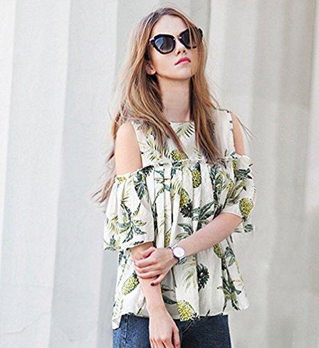 Femme Loisirs Plissage Chic Shirts T Blouse Tops Bretelles Sans Chemisier Blanc Heheja ZCna5qwda