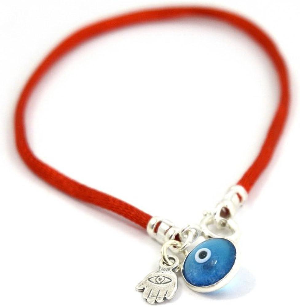 Brazalete con colgante protector de cristal azul y colgante mano de Fátima contra el mal de ojo de 18 cm