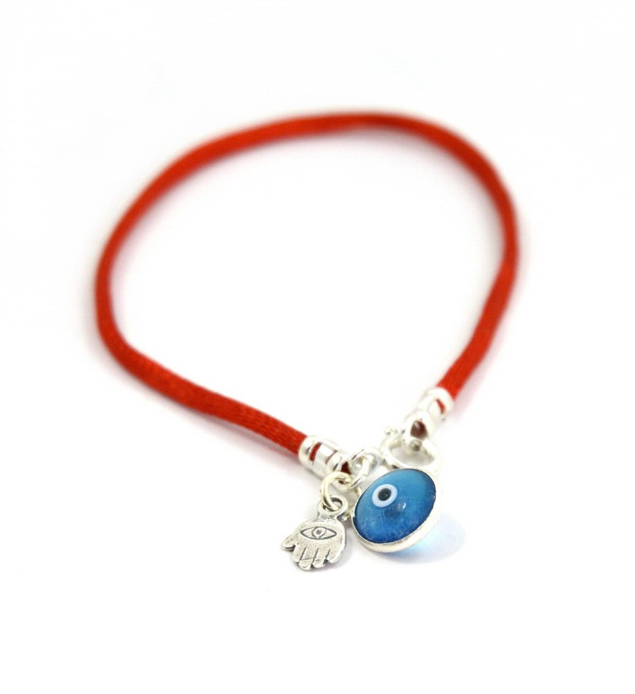 MIZZE Made for Luck Evil Eye & Hamsa Sterling Silver Protection Charm on Red String Bracelet Women 7'' Size