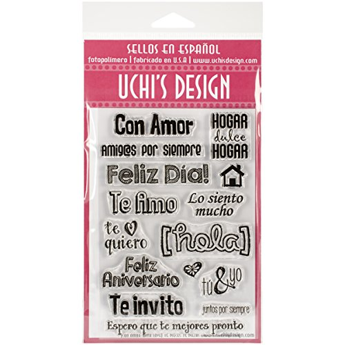 UCHIS DESIGN Spanish Clear Stamp Set Sheet, 4 by 6-Inch, With Love