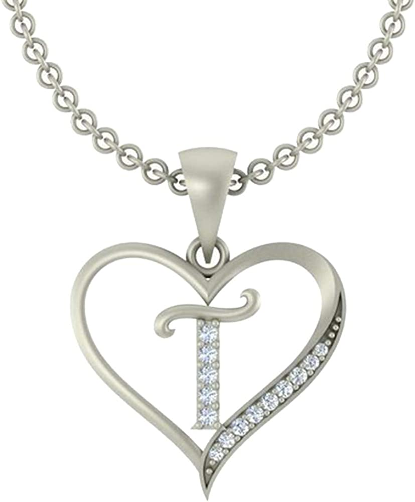 0.10 Ct Round Cut Simulated Diamond LetterA In Heart Pendant With 18 Chain 14K Yellow Gold Plated