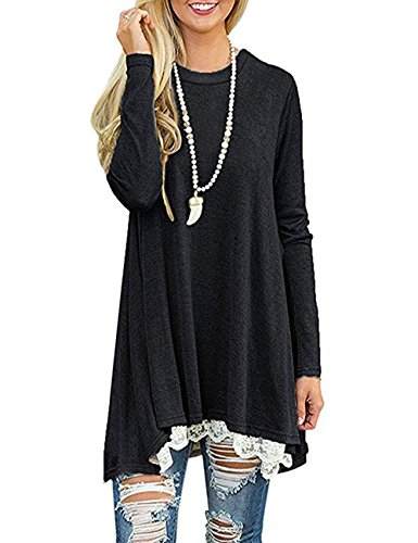 Women's Long Sleeve Lace Tunic Top Blouse Casual Swing Shirt Dress (Black, XXL)