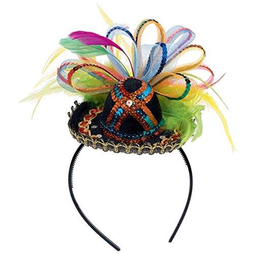 Amscan Cinco De Mayo Fiesta Party Sequins Sombrero Headband with Feather (1 Piece), Multi Color, 2.5 x 5.5 -