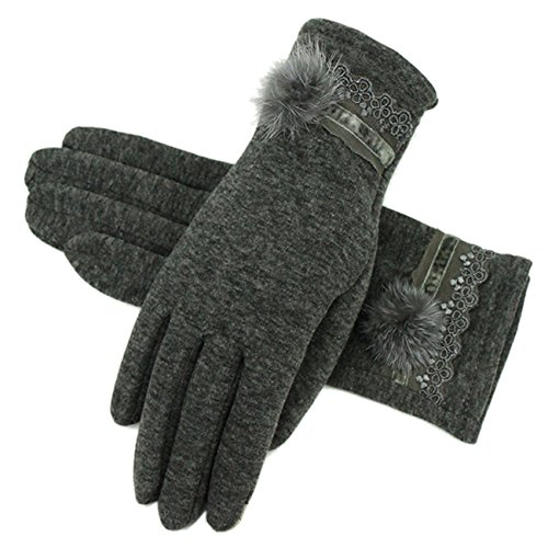 手袋 レディース グローブ 無地 5本指 暖かい 裏起毛 おしゃれ 女の子 かわいい もこもこ 上品 お出かけ パーティー ブラック グレー Monissy
