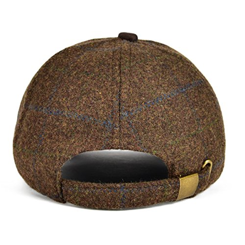 549fcd681e2 VOBOOM Men s Wool Blend Baseball Cap Herringbone Tweed Ball Cap Check Woolen  Adjustable Peaked Cap