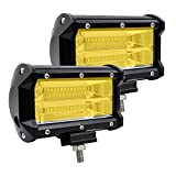 #6: YGL Fog Lights, 2 X 72W Yellow Osram Flood Led Cube Light Drivng Lamp Offroad Light Bar Waterproof IP67 Offroad Light Bar For Jeep ATV Truck Snow 12V/24V