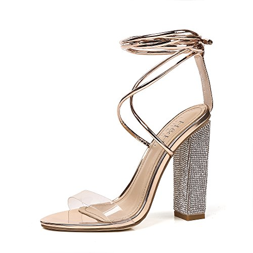 Hell&Heel Rose Gold Clear Lace Up Diamante Heeled Sandals US 10