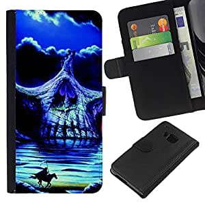 ZCell / HTC One M7 / Headless Horseman Skull Night Horse / Caso Shell Armor Funda Case Cover Wallet / Sin cabeza jinete cráneo Noche Cabal