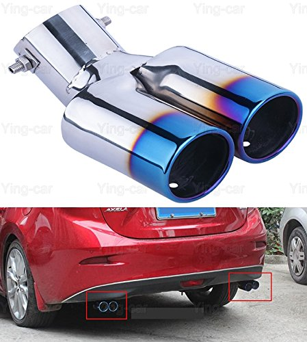 Yingchi 2Pcs Blue Double Outlets Exhaust Muffler Tail Pipe Tip Tailpipe for Mazda 3 Sedan 2014-2016 2017 2018 2019