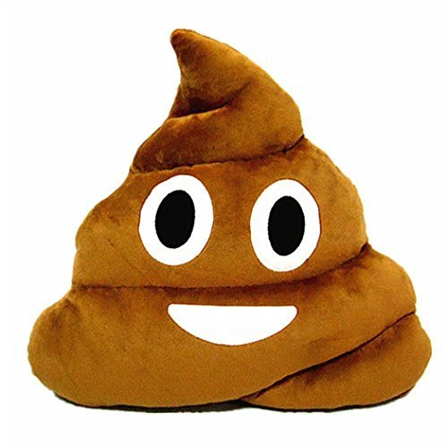 Poop Emoji Emoticon Cushion Pillow Cute Decorative Stuffed Plush Toy Doll Gift for Kids Party Brown]()