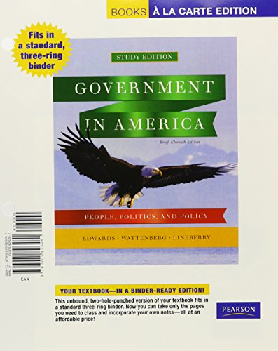 Government in America: People, Politics, and Policy, Brief Edition, Books a la Carte Plus MyPoliSciLab -- Access Card Pa