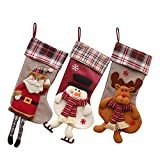 Gift Set Christmas Stockings, 18'' Large Size Cute Christmas Ornament Holders Hanging Stocking with Santa Claus Snowman Elk Pattern Design (B)
