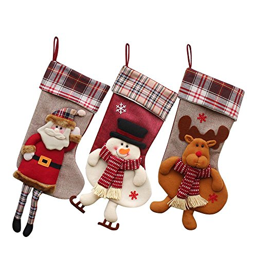 Gift Set Christmas Stockings, 18'' Large Size Cute Christmas Ornament Holders Hanging Stocking with Santa Claus Snowman Elk Pattern Design (B) by 7 COLOR WINGS