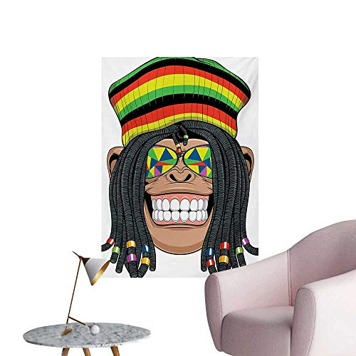 Anzhutwelve Tropical Animals Wall Sticker Decals Portrait of Chimpanzee with Dreadlocks and Cap Hippie Musician Monkey BohoMulticolor W32 xL36 Space Poster ()