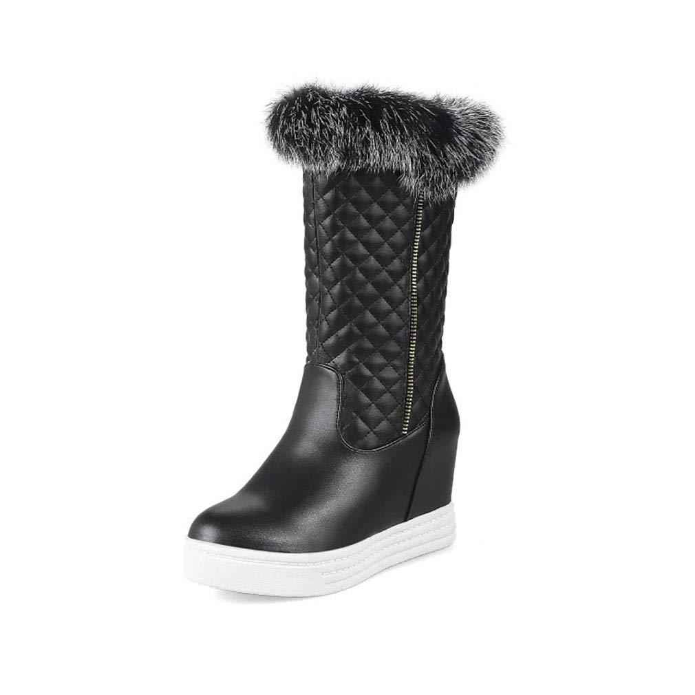 Hy Frauen Stiefel künstliche PU Winter Warm Winddicht Schnee Stiefel Stiefel/Student Mittel-Kalb Stiefel/Damen Winter Stiefel Erhöhen Casual Ski Schuhe (Farbe : Schwarz, Größe : 42)