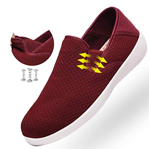 aeepd Women Fashion Trainers Slip on Shoes Walking Loafer Arch Support Comfort Breathable Antislip Wine Red