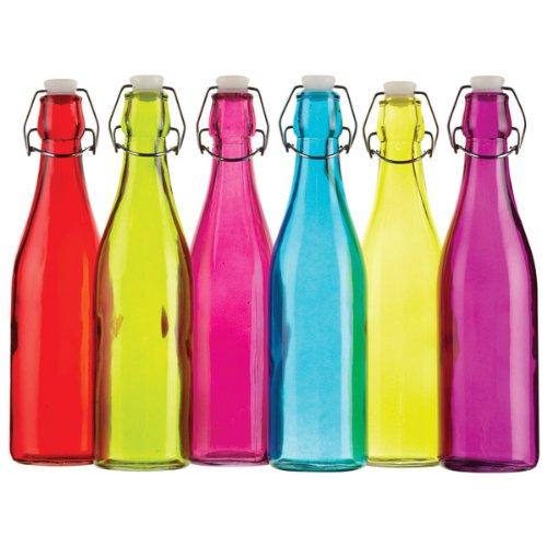 Colourworks Coloured Glass Storage / Water Bottles 500ml - Set of 6 | Clip Top Bottles Kitchen Craft