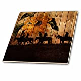 3dRose LLC ct_150190_2 Ceramic Tile, 6-Inch, Western Cowgirl Silhouettes Against Barn Wood with a Vintage Sunflower and Meadow