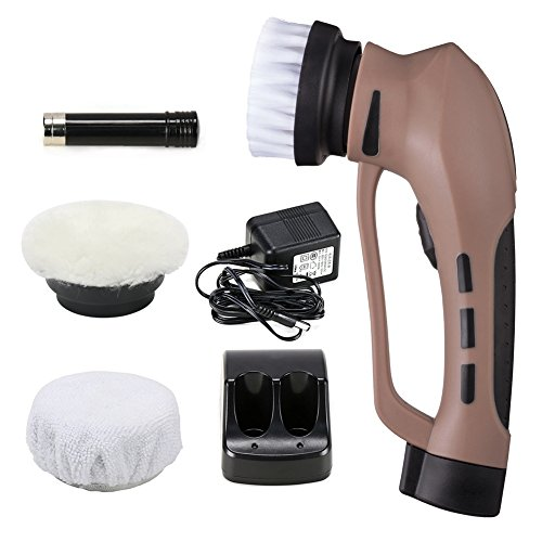 Sunshay Electric Leather Shoe Brush, Rechargeable Shoe Polisher with 3 Brush Heads Portable Leather Care Tool for Car Seat or Sofa