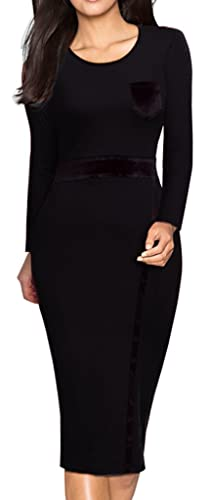 HOMEYEE Women's Casual Long Sleeve Patchwork Wear to Work Party Dress B22