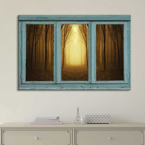 Vintage Teal Window Looking Out Into a Bright Yellow Light and Sepia Forest
