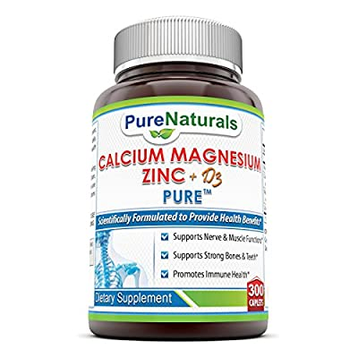 Pure Naturals Calcium Magnesium Zinc with Vitamin D3, Tablets -Scientifically Formulated to provide Health Benefits -Supports Nerve & Muscle Function -Promotes Strong Bones & Teeth