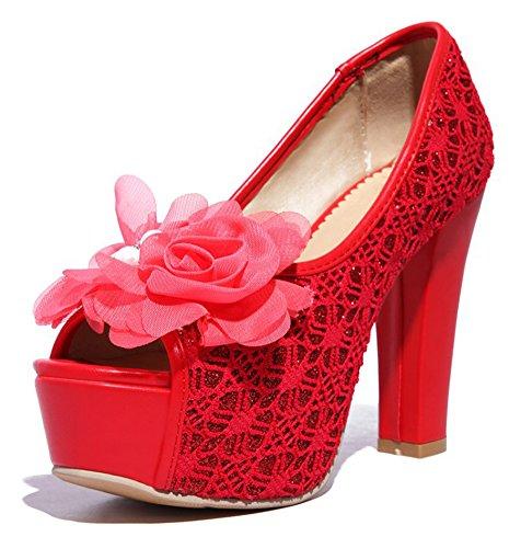 Aisun Womens Peep Toe Pumps With Flower - Discoteca Con Piattaforma A Tacco Alto - Slip On Chunky Shoes Red