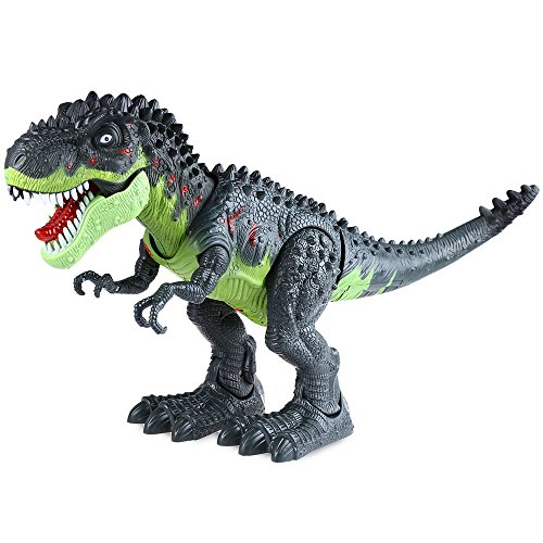 SZYT アクションおもちゃ 動物の形 恐竜 画像 ティラノサウルスレックス 子供のためのギフト バッテリー駆動 緑と黒(バッテリーは含まれていません)