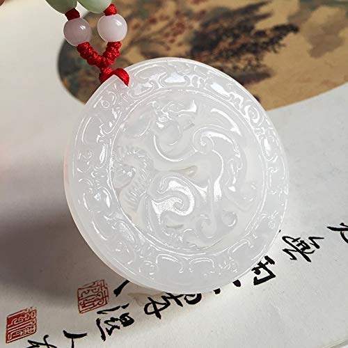 Koraba Fine Jewelry Hand Carved Natural White Jade Dragon Amulet Pendant Necklace
