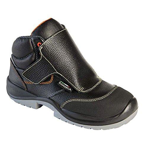Logica Toledo Zapato Seguridad Soldador 600gr alta negro piel costuras Kevlar Protección metatarso refuerzo punta antiestático antideslizante Soldaduras DPI trabajo taller VarioPlus obra industrial