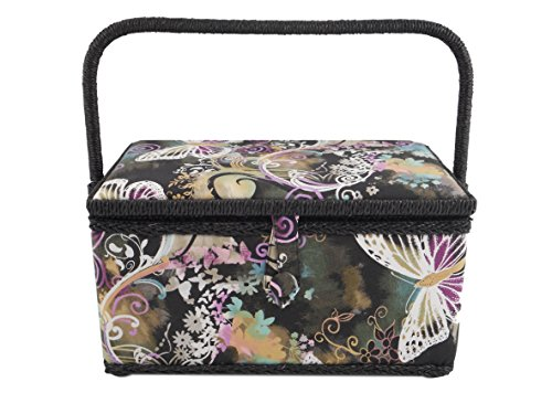 Buy Discount Medium Rectangle Sewing Basket Box with Tray Pincushion 11x7x6.5 (11x7x6.5, Black with ...