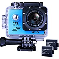 Sports Action Camera Ultra HD Waterproof DV Camcorder 4K WIFI Cam 1080P 170 Degree Wide Angle Blue