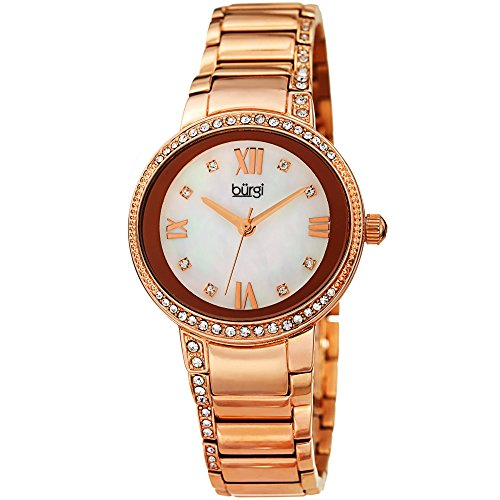 Burgi Stainless Steel Designer Women's Watch – Swarovski Crystal Studded Bezel, Rose Gold Tone Chain Link Band, Mother of Pearl Dial - BUR187RG - Link Designer Water Resistant Watch