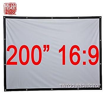 Liku técnicas 200 pulgadas 16: 9 blanca tela de lona plegable ...